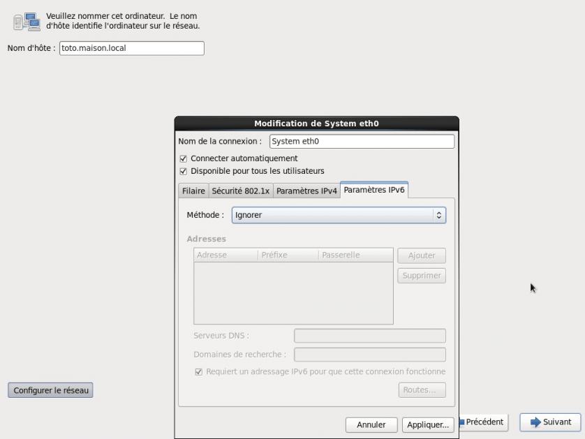 Configuration IPv6