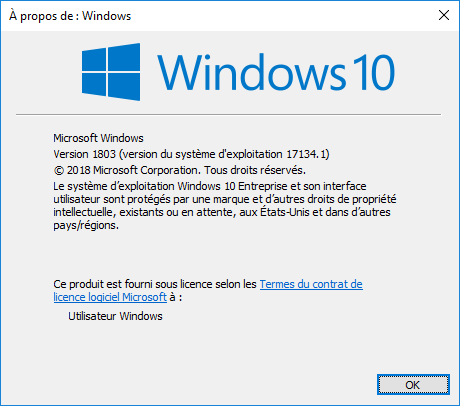Version 1803 de Windows 10