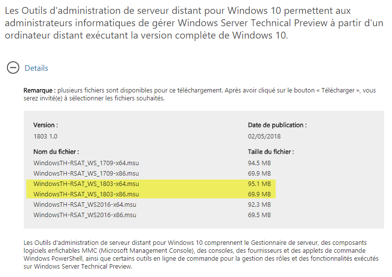 administration de serveur distant pour Windows 10 1803