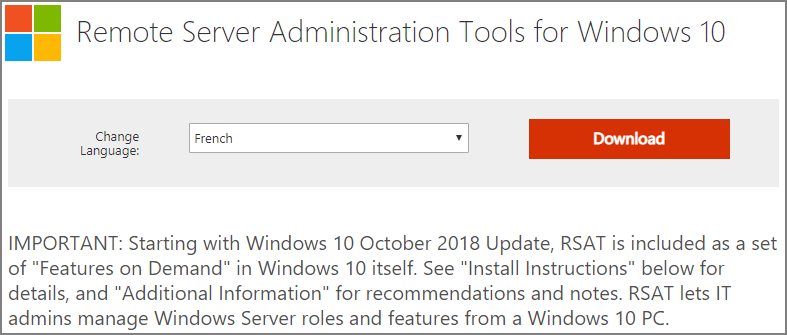 Remote server administration tools (rsat) windows 10 1809 | Download