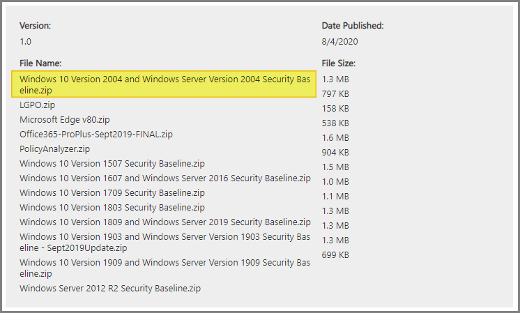 Security baseline pour Windows 10 2004