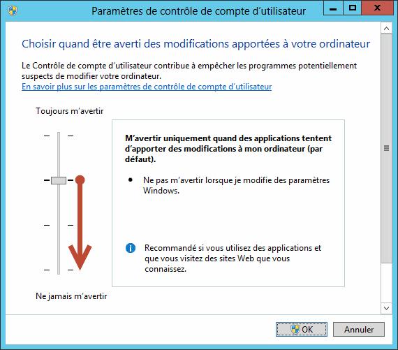 Paramètres de contrôle de compte d'utilisateur