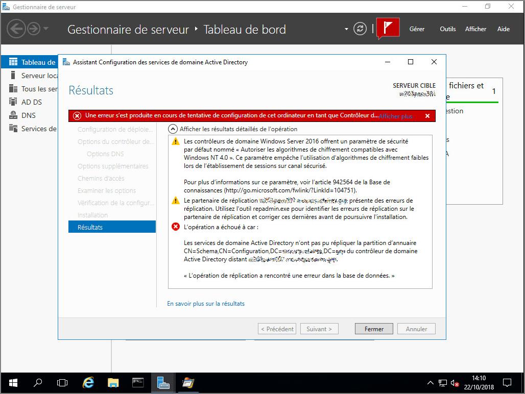 Erreur à la création d'un domaine enfant en Windows Server 2016