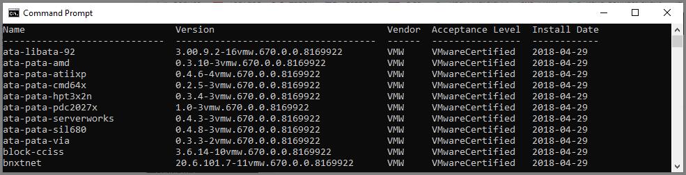 modules logiciels installés sur un ESXi