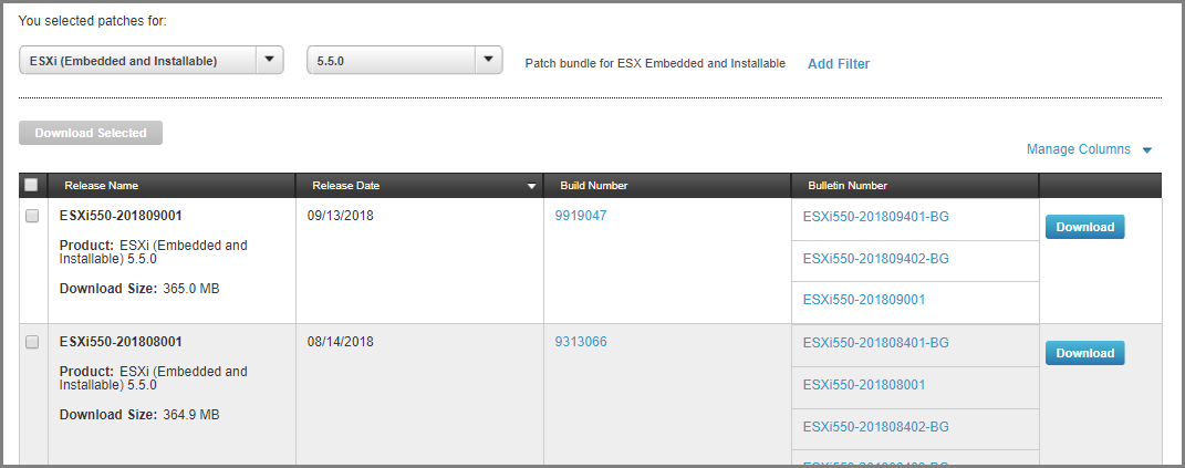 patch sur VMware ESXi 5